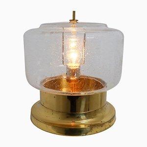 Moderne Mid-Century Tischlampe aus mundgeblasenem Glas & Messing