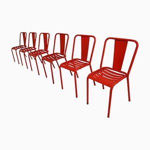 Vintage Model T4 Tolix Chairs by Xavier Pauchard, 1950s, Set of 6