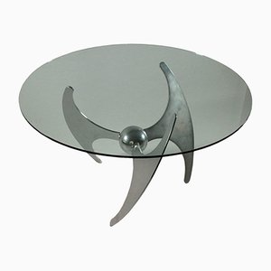 Chromed Metal & Glass Table by Luciano Campanini, 1970s