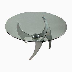 Tisch mit Gestell aus verchromtem Metall & Tischplatte aus Glas von Luciano Campanini, 1970er