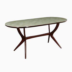 Vintage Esstisch mit Gestell aus gebeizter Buche & Tischplatte in Marmor-Optik