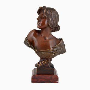 Seule Jugendstil Büste aus Bronze von Emmanuel Villanis, 1900er