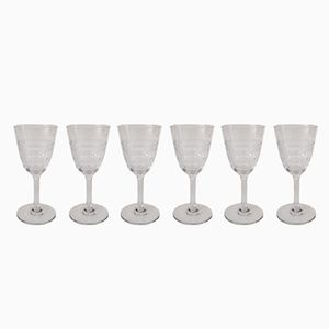 Cavour White Wine Glasses from Baccarat, 1910s, Set of 6