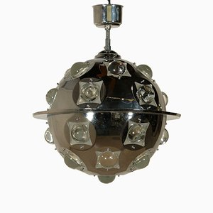 Chromed Metal & Glass Ceiling Lamp by Oscar Torlasco, 1960s