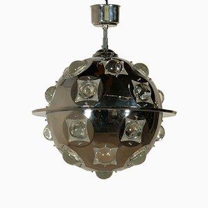 Lampada da soffitto in metallo cromato e vetro di Oscar Torlasco, anni '60