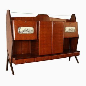 Vintage Italian Glass and Rosewood Veneer Sideboard