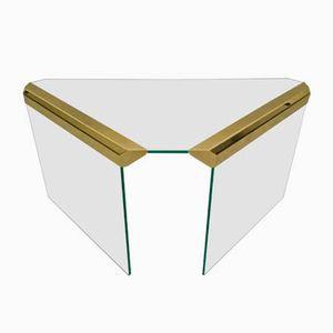 Mesa auxiliar de latón y vidrio de Pierangelo Gallotti para Gallotti & Radice, años 70