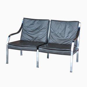 Banco sofá de cuero de Preben Fabricius para Knoll International, años 70