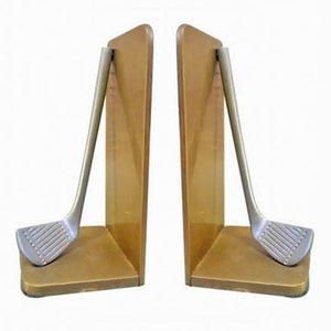 Sujetalibros vintage con palos de golf. Juego de 2