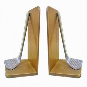 Vintage Golf Club Bookends, Set of 2