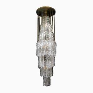 Lámpara de araña en cascada de cristal de Murano de Mazzega, años 60