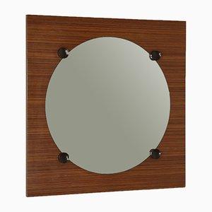 Specchio a muro impiallacciato in teak, Italia, anni '60