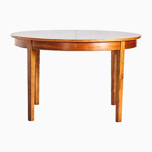 Round Vintage Danish Walnut Dining Table, 1960s