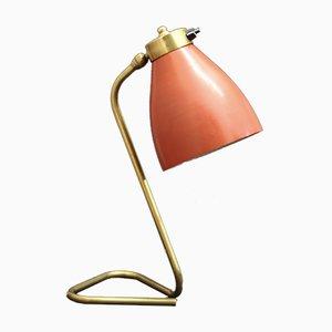 Französische Mid-Century Tischlampe aus Messing mit rotem Schirm, 1950er