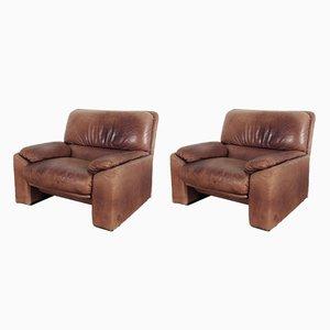 Vintage Leather Armchairs by Arrigo Arrigoni for Busnelli, Set of 2