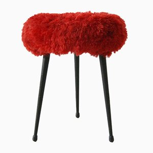 German Tripod Stool with Faux Fur Cover, 1950s