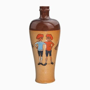 Antique Twins Stoneware Whisky Flask by John Hassall for Royal Doulton, 1900s