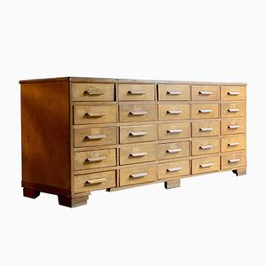 Oak Haberdashery Counter with 25 Drawers, 1940s