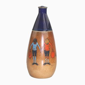 British Stoneware Whiskey Flask by John Hassall for Royal Doulton, 1900s