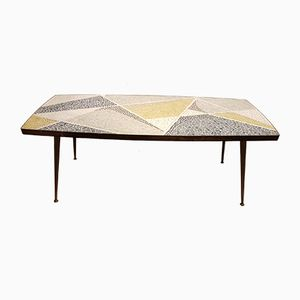 Vintage Brass & Mosaic Coffee Table by Berthold Müller