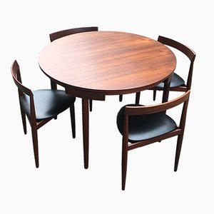 Vintage Extendable Dining Table with 4 Chairs by Hans Olsen for Frem Røjle