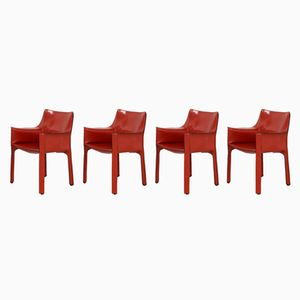 Vintage 413 Cab Chairs by Mario Bellini for Cassina, Set of 4