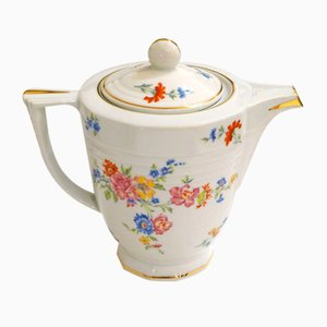 Limoges Porcelain Coffee Pot with Floral Decor from Ulim, 1940s