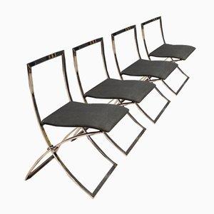 Chaises Vintage en Métal Chromé & en Tissu, 1980s, Set de 4