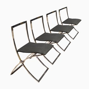 Vintage Stühle mit Gestell aus verchromtem Metall & Stoffbezug, 1980er, 4er Set