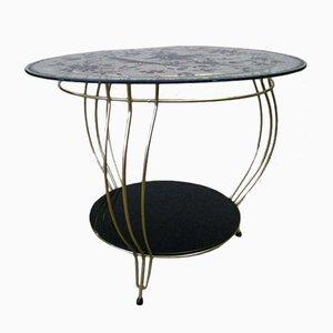 Table d'Appoint Oiseau Vintage en Laiton & en Verre, 1950s