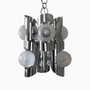 Vintage Italian Chromed Metal Pendant Lamp, 1960s