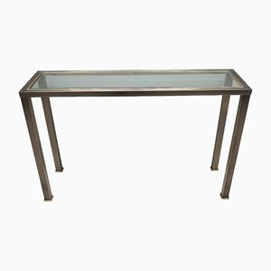 Vintage Industrial Brushed Steel & Gilt Console Table from Belgo Chrom, 1980s