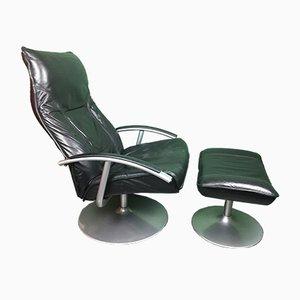 Dänischer Vintage Sessel und Fußhocker aus Leder von LederMobel Kebe