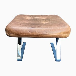 Vintage German Cantilever Leather Square Stool, 1970s