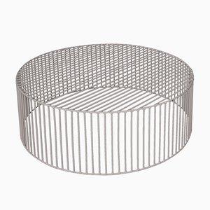 Table Basse Large et Cylindrique Tamburo Gris Beige par Antonino Sciortino pour Atipico