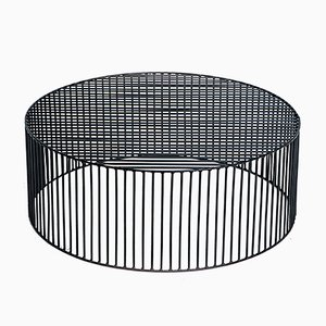 Table Basse Large et Cylindrique Tamburo Noire par Antonino Sciortino pour Atipico