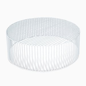 Wide Tamburo Cylindrical Coffee Table by Antonino Sciortino for Atipico in Signal White