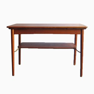 Danish Oak and Brass Extendable Coffee Table