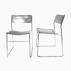 Vintage Perforated Chrome & Steel Chairs by Niels Jorgen Haugesen for Magis, Set of 2