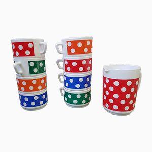 Servizio da tè o da caffè vintage multicolore di Arcopal