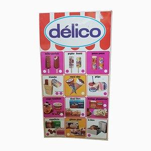 Panneau Publicitaire Métallique pour les Glaces Delico, 1980s