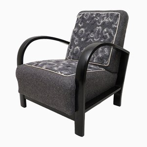 Italian Art Deco Black Shellac and Wool Armchair, 1940s