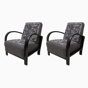 Italian Art Deco Black Shellac and Wool Armchairs, 1940s, Set of 2
