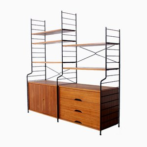 Teak Metal String Bookcase with Freestanding Drawer, 1950s