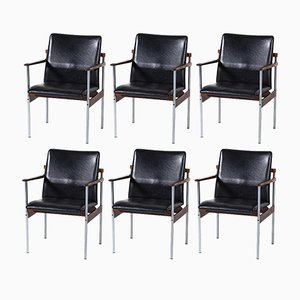 Rosewood & Metal Thereca Dining or Conference Chairs from Fristho, 1960s, Set of 6