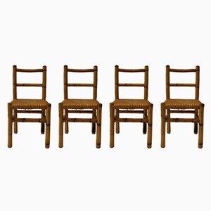 Französische Vintage Stühle aus Holz & Bambus, 1970er, 4er Set