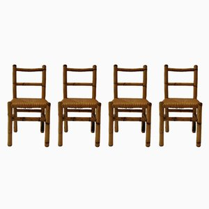 Vintage French Wood & Bamboo Chairs, 1970s, Set of 4