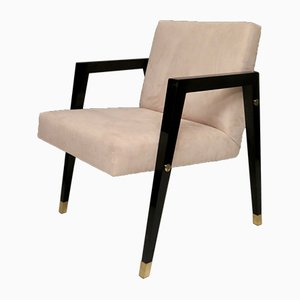 Mid-Century Italian Wood and Brass Armchairs, 1950s, Set of 2