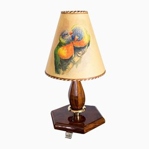 Vintage French Art Deco Walnut Table Lamp, 1930s
