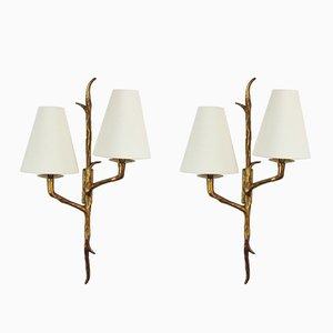 Vintage Wandlampen aus Bronze, 1950er, 2er Set